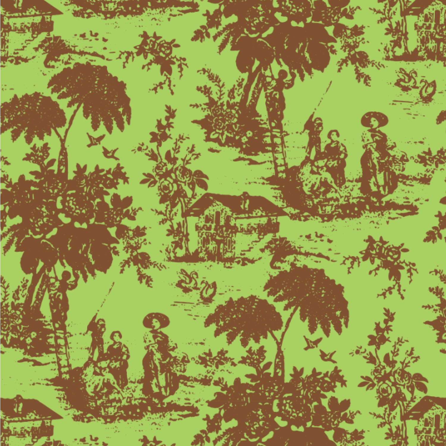 green amp brown toile wallpaper amp surface covering peel