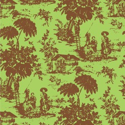 Green & Brown Toile Wallpaper & Surface Covering