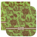 Green & Brown Toile Facecloth / Wash Cloth (Personalized)