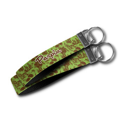 Green & Brown Toile Wristlet Webbing Keychain Fob (Personalized)