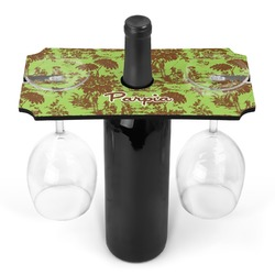 Green & Brown Toile Wine Bottle & Glass Holder (Personalized)