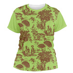 Green & Brown Toile Women's Crew T-Shirt (Personalized)