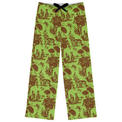 Green & Brown Toile Womens Pajama Pants (Personalized)