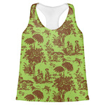 Green & Brown Toile Womens Racerback Tank Top (Personalized)
