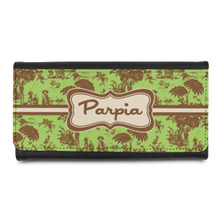 Green & Brown Toile Leatherette Ladies Wallet (Personalized)