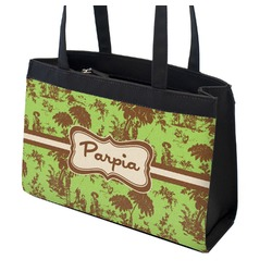 Green & Brown Toile Zippered Everyday Tote (Personalized)