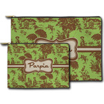 Green & Brown Toile Zipper Pouch (Personalized)