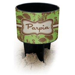 Green & Brown Toile Black Beach Spiker Drink Holder (Personalized)