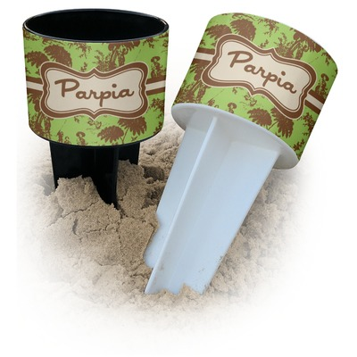 Green & Brown Toile Beach Spiker Drink Holder (Personalized)