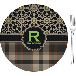 "Moroccan Mosaic & Plaid Glass Appetizer / Dessert Plates 8"" - Single or Set (Personalized)"