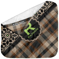 Moroccan Mosaic & Plaid Baby Hooded Towel (Personalized)