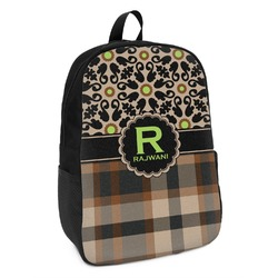 Moroccan Mosaic & Plaid Kids Backpack (Personalized)