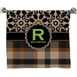 Moroccan Mosaic & Plaid Full Print Bath Towel (Personalized)