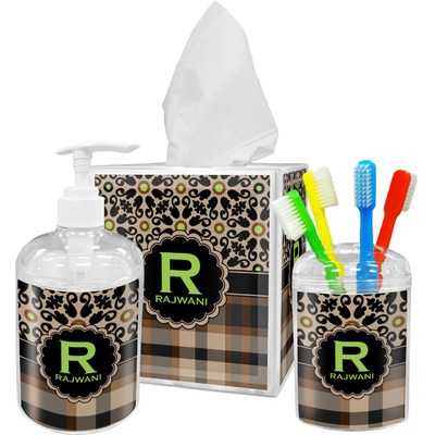 Moroccan Mosaic & Plaid Acrylic Bathroom Accessories Set w/ Name and Initial