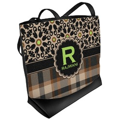 Moroccan Mosaic & Plaid Beach Tote Bag (Personalized)