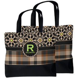 Moroccan Mosaic & Plaid Beach Tote Bag (Personalized)