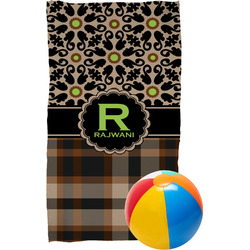 Moroccan Mosaic & Plaid Beach Towel (Personalized)