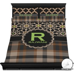 Moroccan Mosaic & Plaid Duvet Cover Set (Personalized)