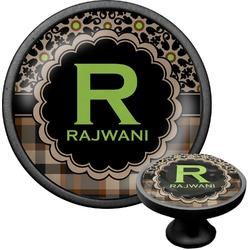 Moroccan Mosaic & Plaid Cabinet Knob (Black) (Personalized)