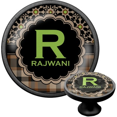 Moroccan Mosaic & Plaid Cabinet Knob (Black) (Personalized)