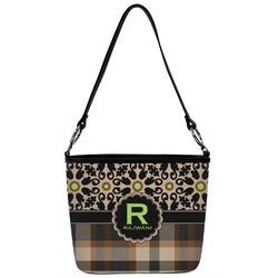 Moroccan Mosaic & Plaid Bucket Bag w/ Genuine Leather Trim (Personalized)
