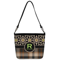 Moroccan Mosaic & Plaid Bucket Bag w/ Genuine Leather Trim (Personalized)