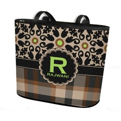 Moroccan Mosaic & Plaid Bucket Tote w/ Genuine Leather Trim (Personalized)