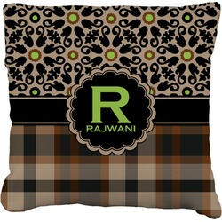 """Moroccan Mosaic & Plaid Faux-Linen Throw Pillow 16"""" (Personalized)"""