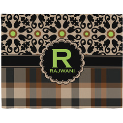 Moroccan Mosaic & Plaid Woven Fabric Placemat - Twill w/ Name and Initial