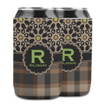 Moroccan Mosaic & Plaid Can Cooler (12 oz) w/ Name and Initial