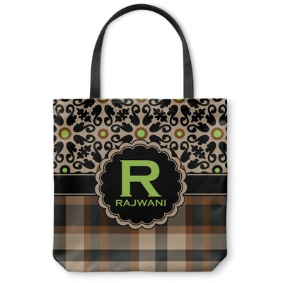 Moroccan Mosaic & Plaid Canvas Tote Bag (Personalized)