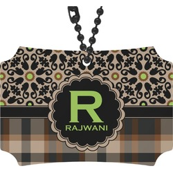 Moroccan Mosaic & Plaid Rear View Mirror Ornament (Personalized)
