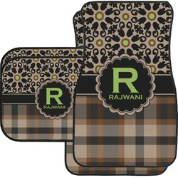 Moroccan Mosaic & Plaid Car Floor Mats Set - 2 Front & 2 Back (Personalized)