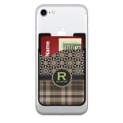 Moroccan Mosaic & Plaid 2-in-1 Cell Phone Credit Card Holder & Screen Cleaner (Personalized)