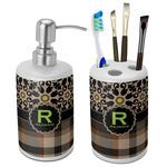 Moroccan Mosaic & Plaid Bathroom Accessories Set (Ceramic) (Personalized)
