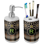 Moroccan Mosaic & Plaid Bathroom Accessories Set (Ceramic) (Personalized)