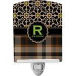 Moroccan Mosaic & Plaid Ceramic Night Light (Personalized)