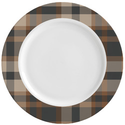 Moroccan Mosaic & Plaid Ceramic Dinner Plates (Set of 4) (Personalized)