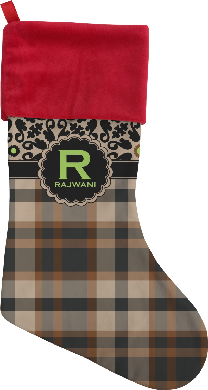 moroccan mosaic plaid christmas stocking double sided. Black Bedroom Furniture Sets. Home Design Ideas