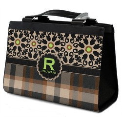 Moroccan Mosaic & Plaid Classic Tote Purse w/ Leather Trim w/ Name and Initial