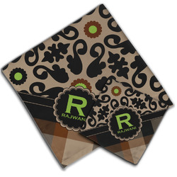 Moroccan Mosaic & Plaid Cloth Napkin w/ Name and Initial