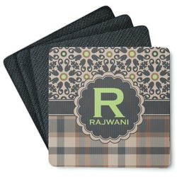Moroccan Mosaic & Plaid 4 Square Coasters - Rubber Backed (Personalized)