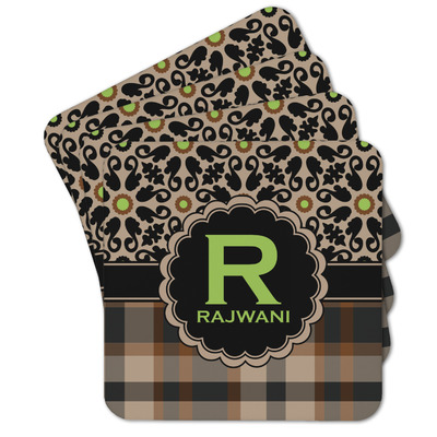 Moroccan Mosaic & Plaid Cork Coaster - Set of 4 w/ Name and Initial