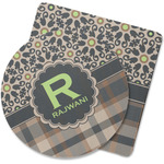 Moroccan Mosaic & Plaid Rubber Backed Coaster (Personalized)