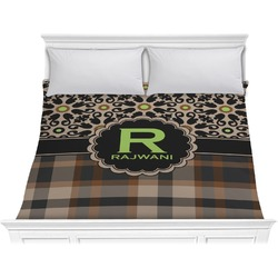Moroccan Mosaic & Plaid Comforter - King (Personalized)
