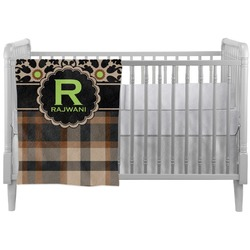 Moroccan Mosaic & Plaid Crib Comforter / Quilt (Personalized)