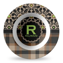 Moroccan Mosaic & Plaid Plastic Bowl - Microwave Safe - Composite Polymer (Personalized)