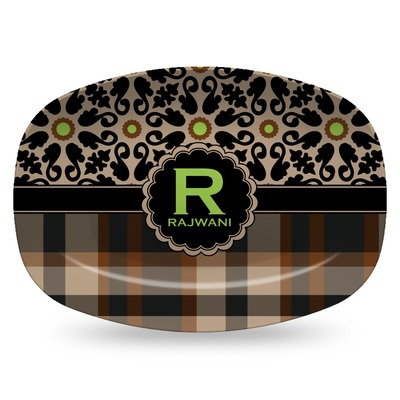 Moroccan Mosaic & Plaid Plastic Platter - Microwave & Oven Safe Composite Polymer (Personalized)