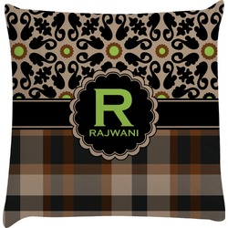 Moroccan Mosaic & Plaid Decorative Pillow Case (Personalized)