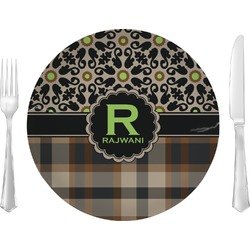 """Moroccan Mosaic & Plaid Glass Lunch / Dinner Plates 10"""" - Single or Set (Personalized)"""